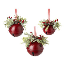 Load image into Gallery viewer, Set of 3 Red Bells with Christmas Foliage