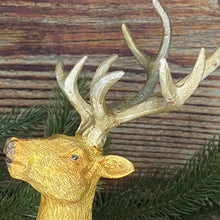 Load image into Gallery viewer, Christmas Gold Stag Ornament With Red And Gold Jewels
