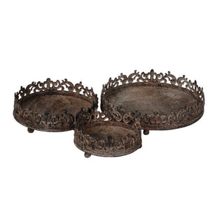 Set of 3 Christmas Rustic Effect Trays
