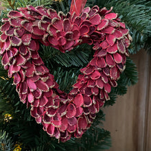 Load image into Gallery viewer, Small Hanging Red Heart Wreath