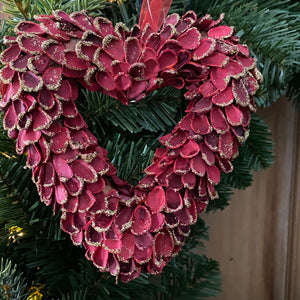 Small Hanging Red Heart Wreath