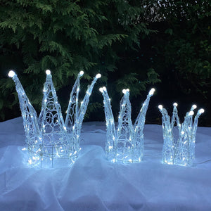 Chirstmas Soft Acrylic 3 Piece Set of Crowns 140 White LED Lights