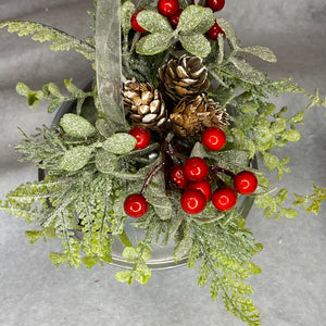 Set of 3 Silver Bells with Christmas Foliage