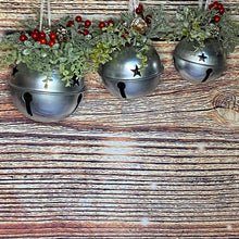 Load image into Gallery viewer, Set of 3 Silver Bells with Christmas Foliage