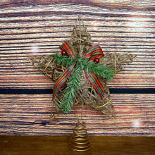 Load image into Gallery viewer, Wicker 30cm Star Tree Topper with Glitter, Tartan Bow & Berries