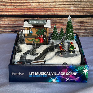 Christmas Musical Animated Lit Village Scenes