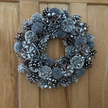 Load image into Gallery viewer, 36cm Silver Pinecone Wreath