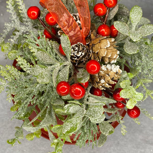 Set of 3 Red Bells with Christmas Foliage