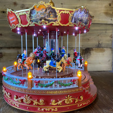 Load image into Gallery viewer, Christmas Musical Carousel with Horses 35cm LED Lit