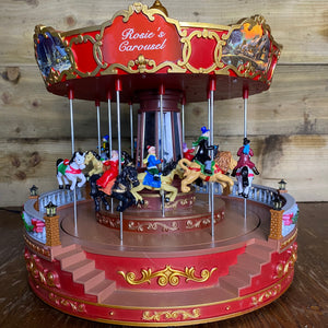 Christmas Musical Carousel with Horses 35cm LED Lit
