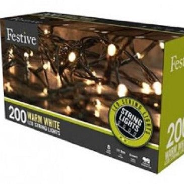 Festive 200 Warm White LED String Lights