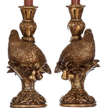 Load image into Gallery viewer, Festive Partridge Candle Holder Set Vintage Gold