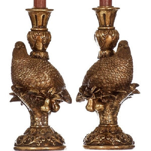 Festive Partridge Candle Holder Set Vintage Gold
