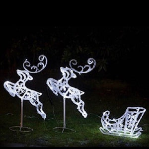 Flying Reindeer and Sleigh with 90 White LED Lights