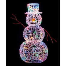 Load image into Gallery viewer, Soft Acrylic 90cm Snowman Lit with 80 Multi Coloured LED Lights