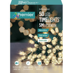 Premier TimeLights 50 Warm White LED Battery Operated String Lights