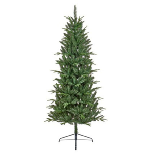 Aspen Fir Slim 2.1m Hinged Christmas Tree with Metal Stand