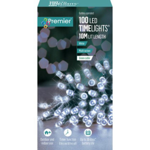 Premier TimeLights 100 White LED Battery Operated String Lights