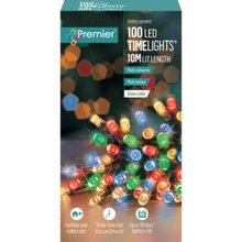 Load image into Gallery viewer, Premier TimeLights 100 Multi-Coloured LED Battery Operated String Lights