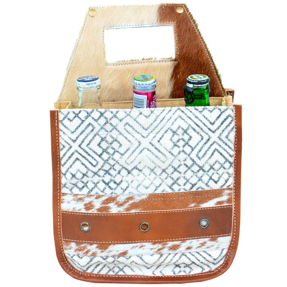 White Canvas Pattern & Fur Beer Carrier
