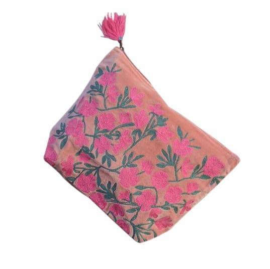 Large Embroidered Coral Flowers Pouch
