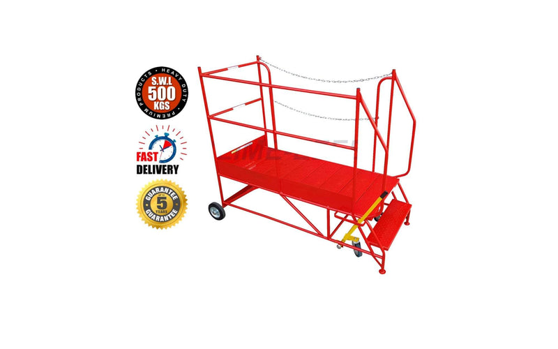 Access Platform Range - Heavy Duty Warehouse Access Platform Safety Steps - Various Sizes & Colours - 2 Treads / Red (RAL 3020) - The Cracking Racking Ltd