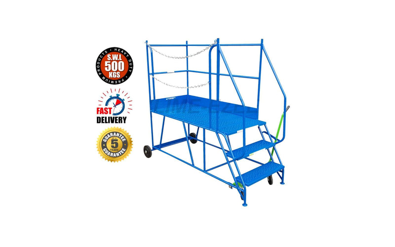 Access Platform Range - Heavy Duty Warehouse Access Platform Safety Steps - Various Sizes & Colours - 3 Treads / Blue (RAL 5005) - The Cracking Racking Ltd