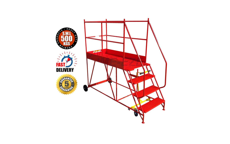 Access Platform Range - Heavy Duty Warehouse Access Platform Safety Steps - Various Sizes & Colours - 4 Treads / Red (RAL 3020) - The Cracking Racking Ltd