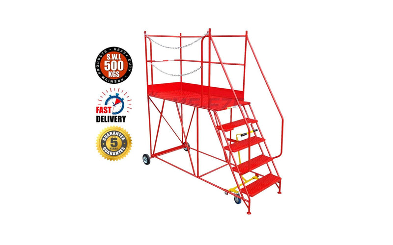 Access Platform Range - Heavy Duty Warehouse Access Platform Safety Steps - Various Sizes & Colours - 5 Treads / Red (RAL 3020) - The Cracking Racking Ltd
