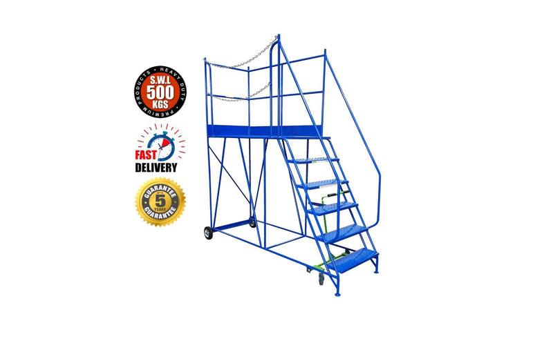 Access Platform Range - Heavy Duty Warehouse Access Platform Safety Steps - Various Sizes & Colours - 6 Treads / Blue (RAL 5005) - The Cracking Racking Ltd