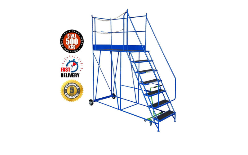 Access Platform Range - Heavy Duty Warehouse Access Platform Safety Steps - Various Sizes & Colours - 7 Treads / Blue (RAL 5005) - The Cracking Racking Ltd