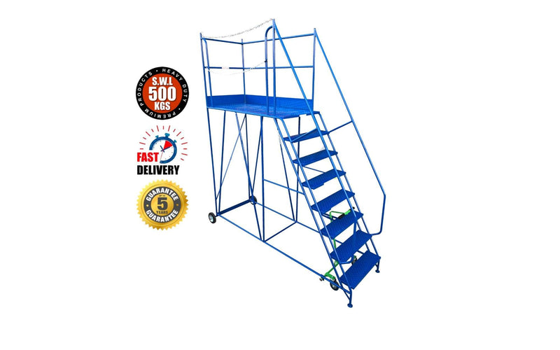 Access Platform Range - Heavy Duty Warehouse Access Platform Safety Steps - Various Sizes & Colours - 8 Treads / Blue (RAL 5005) - The Cracking Racking Ltd
