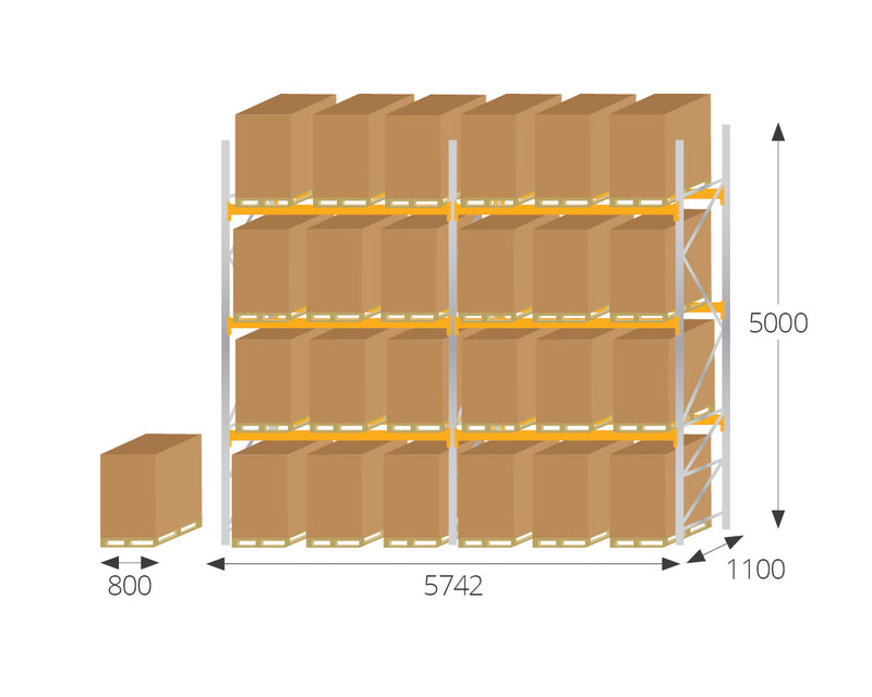 Pallet Racking - Pallet Racking Kit 6 for EURO Pallets - H5000mm x W5700mm x D1100mm -  - The Cracking Racking Ltd