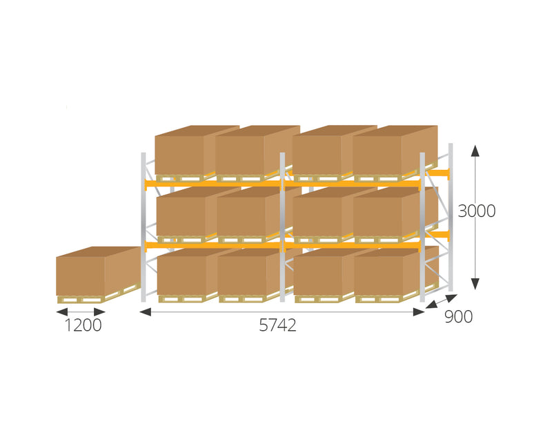 Pallet Racking - Pallet Racking Kit 1 for UK Pallets (1200 x 1000) - H3000mm x W5700mm x D900mm -  - The Cracking Racking Ltd