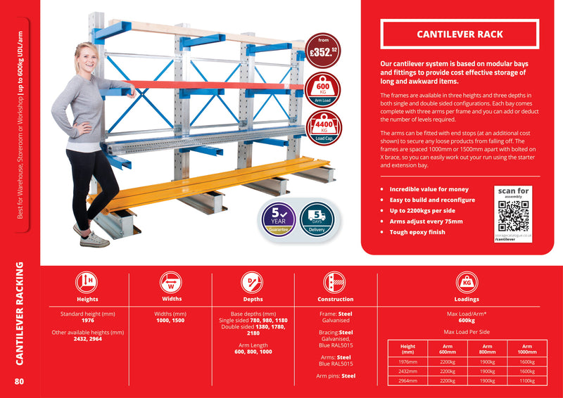 Cantilever - Cantilever Racking - Double Sided Starter Bay with Height up to 2964mm -  - The Cracking Racking Ltd