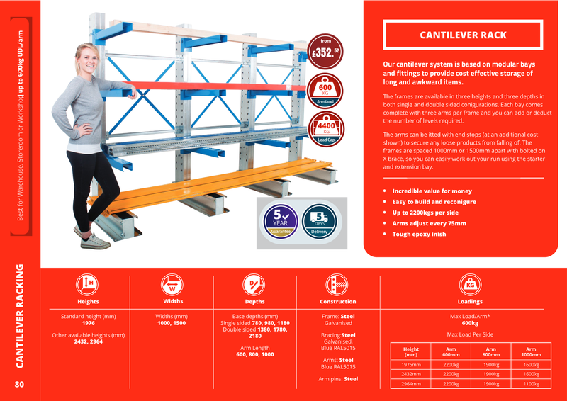 Cantilever Racking - Specifications Sheet