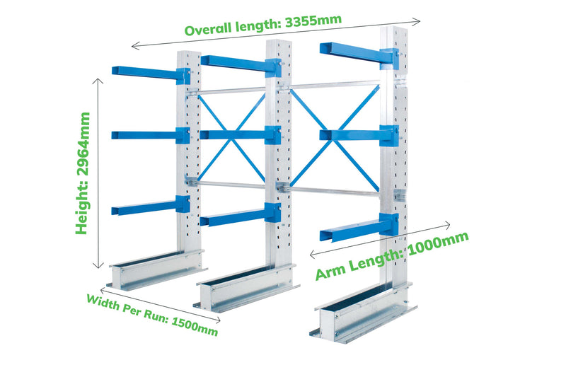 Cantilever Racking - Run of 2 Joined Bays - Single Sided