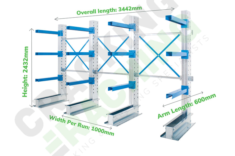 Cantilever Racking - Run of 3 Joined Bays - Single Sided