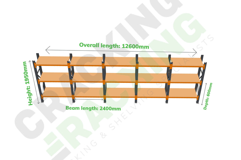 Champ Rack - Industrial Shelving - 1950h x 2400w x 600d - 3 Levels