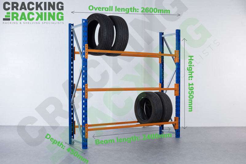 Link 51 - Tyre Bay Racking - 1950h x up to 2900w x 450d - 3 Levels