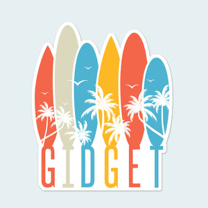 Sticker with brightly colored surfboards dreaming of a beach scene with palm trees and sea birds