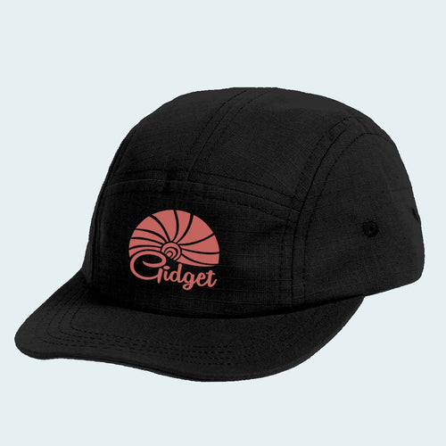 Women's runner hat, black licorice color with sunrise logo  Edit alt text