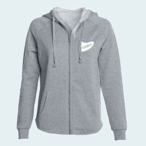 Women's beachside ash colored hoodie with pocket-print of fin logo