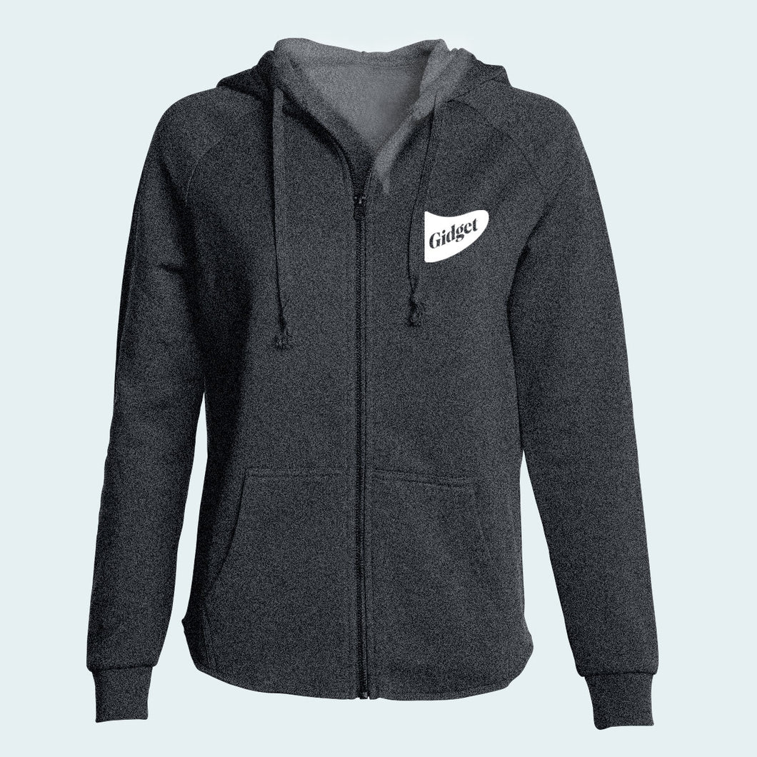Women's river rock grey colored hoodie with pocket-print of fin logo