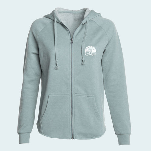 Women's ocean foam colored hoodie with pocket-print of sunrise logo