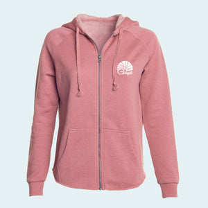 Women's rose petal colored hoodie with pocket-print of sunrise logo