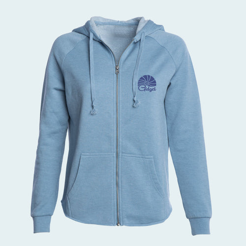 Women's cool mist colored hoodie with pocket-print of sunrise logo