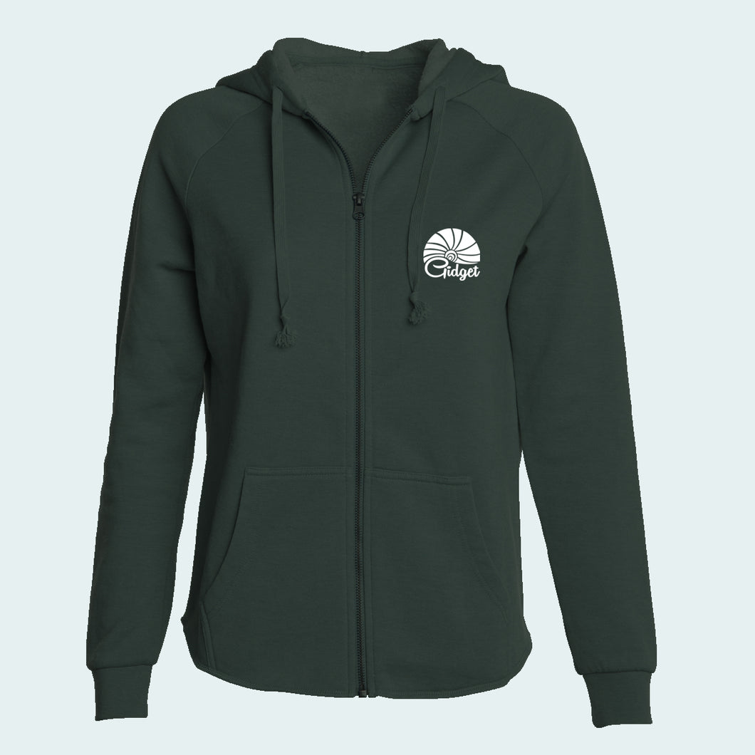 Kids seaweed green colored hoodie with pocket-print of sunrise logo