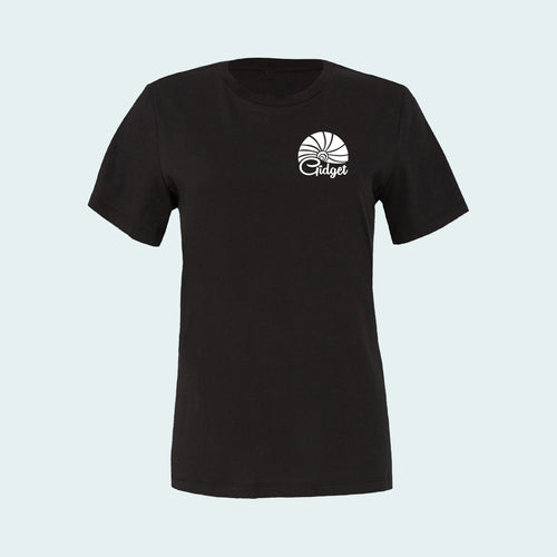 Kids black licorice t-shirt, view of front-side, with pocket-print of sunrise logo