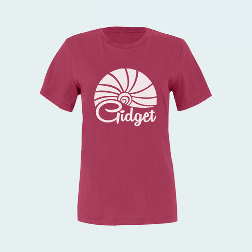 Kids berry popsicle colored t-shirt, view of front-side, with large-print of sunrise logo